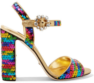 Dolce & Gabbana Crystal Embellished Sequined Metallic Leather sandals featured on Noir Friday Finds.
