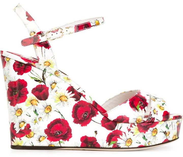Dolce & Gabbana Daisy and Poppy Print Sandals featured on Noir Friday Finds.