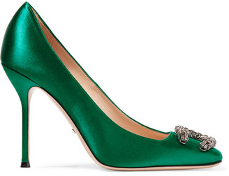 Gucci Dionysus Embellished Satin Pumps featured on Noir Friday Finds.