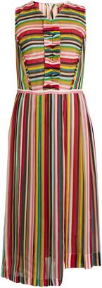 No. 21 striped sleeveless silk-chifon dress featured on Noir Friday Finds.