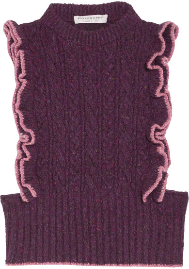 Philosophy di Lorenzo Serafini  Ruffled Cable-knit Wool-blend Sweater featured on Noir Friday Finds.