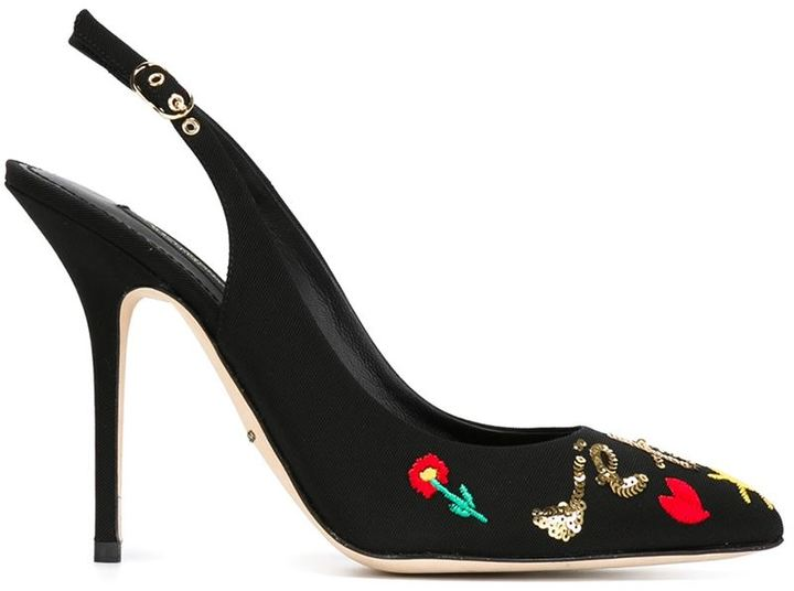 Dolce & Gabbana Embroidered Sequined Pumps featured on Noir Friday Finds.