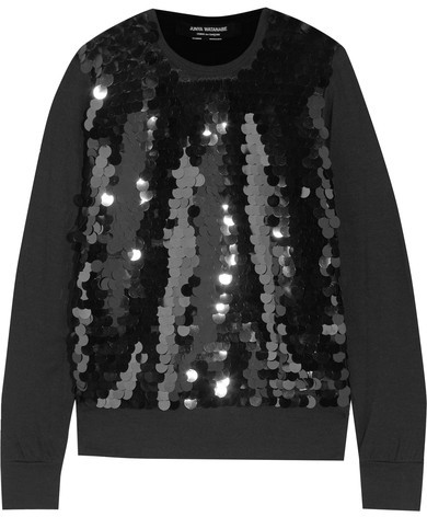 Junya Watanabe Pailett-embellished tulle and wool top featured on Noir Friday Finds.