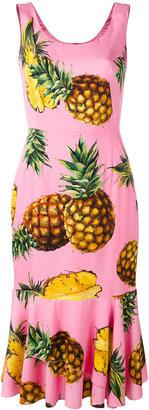 Dolce & Gabbana Pineapple Print Peplum dress featured on Noir Friday Finds.