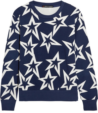 Perfect Moment Starlight Printed Cotton Jersey Sweatshirt featured on Noir Friday Finds.