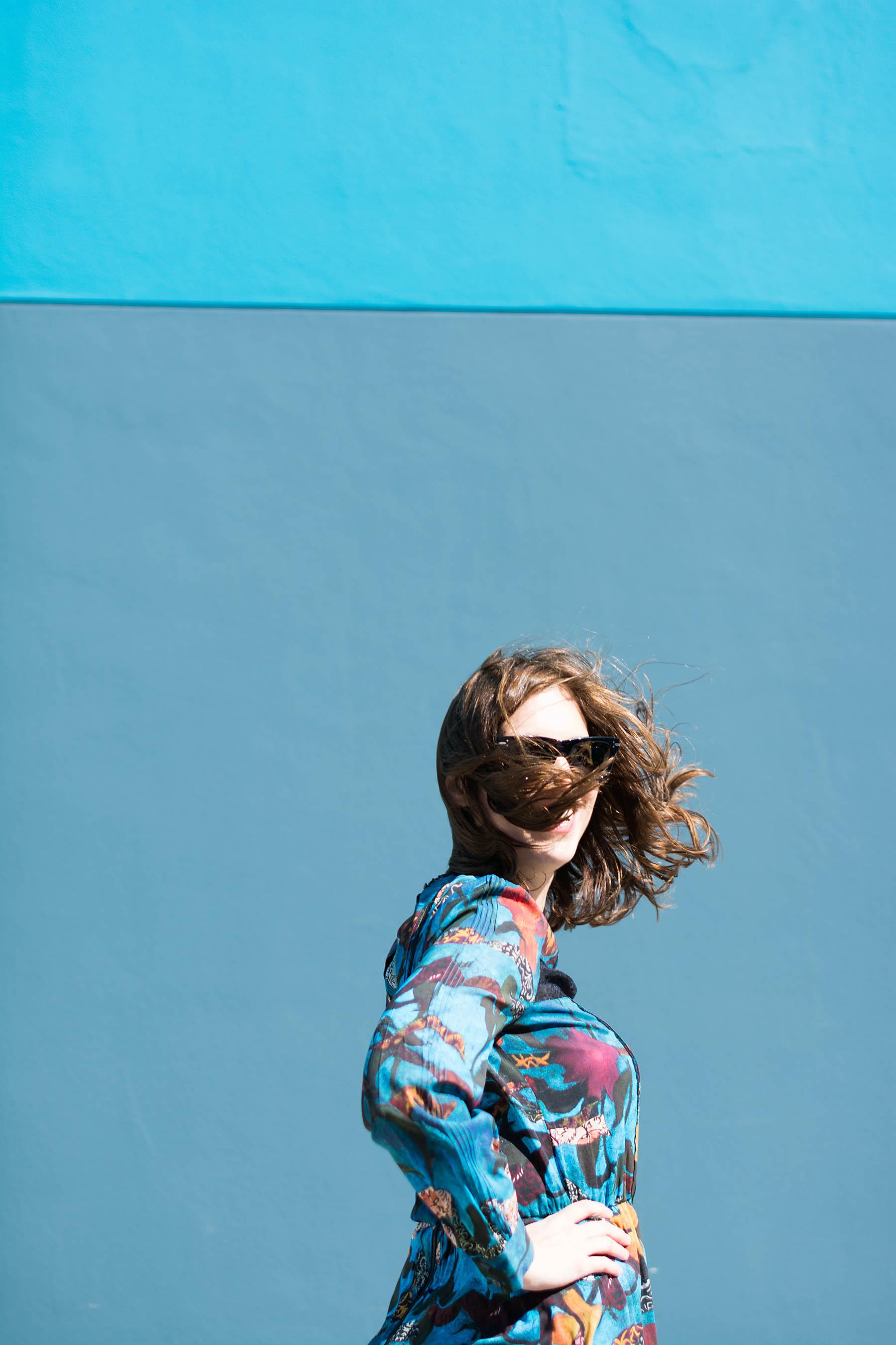 Anna Roufos Sosa of Noir Friday wearing Alice & Olivia dress.