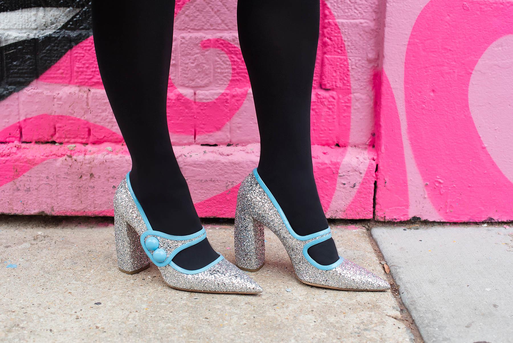Anna Roufos Sosa wearing Kenzo x HM and Miu Miu Glitter Heels.
