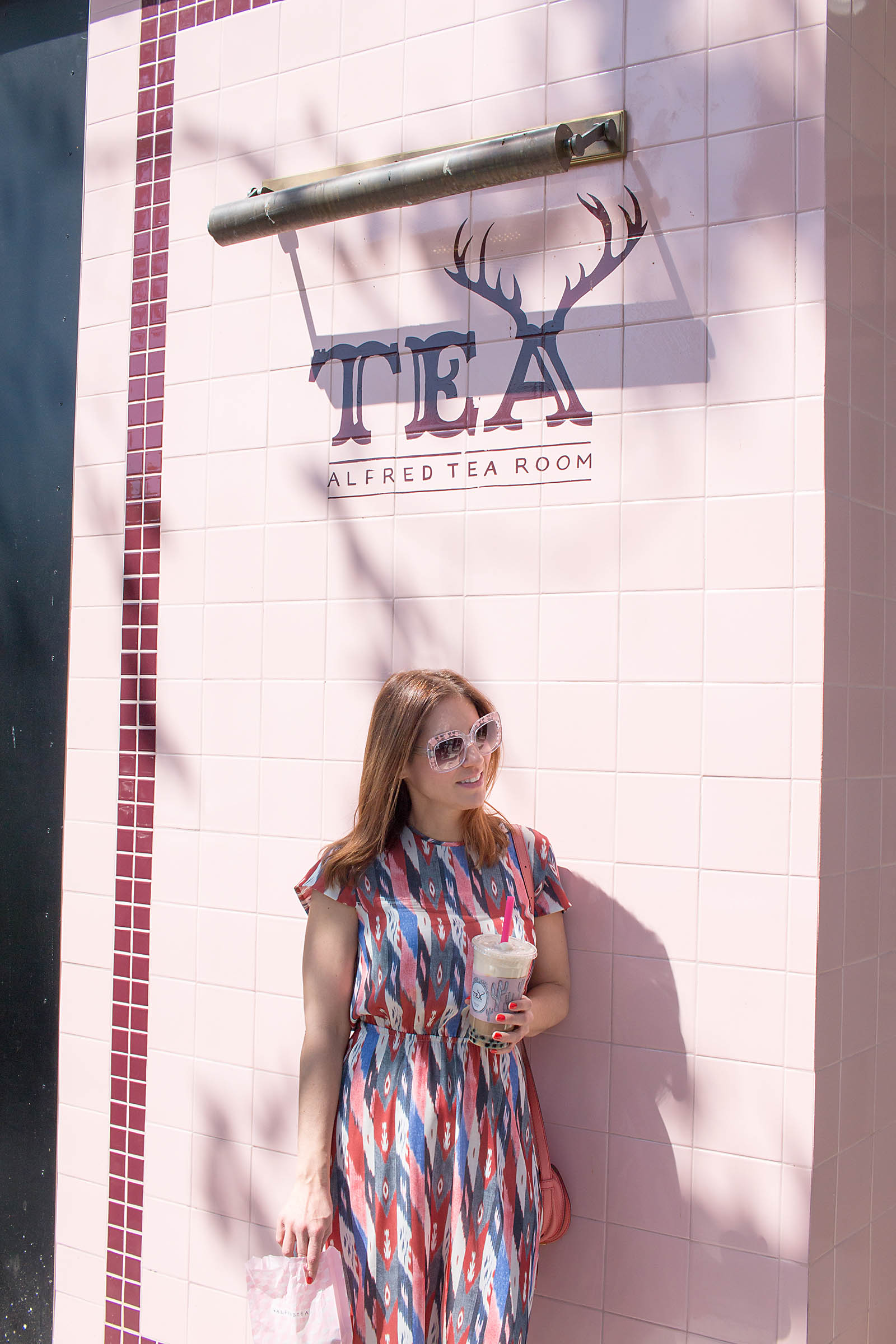 Anna Roufos Sosa of Noir Friday in Isabel Marant visiting Alfred Tea Room in LA.