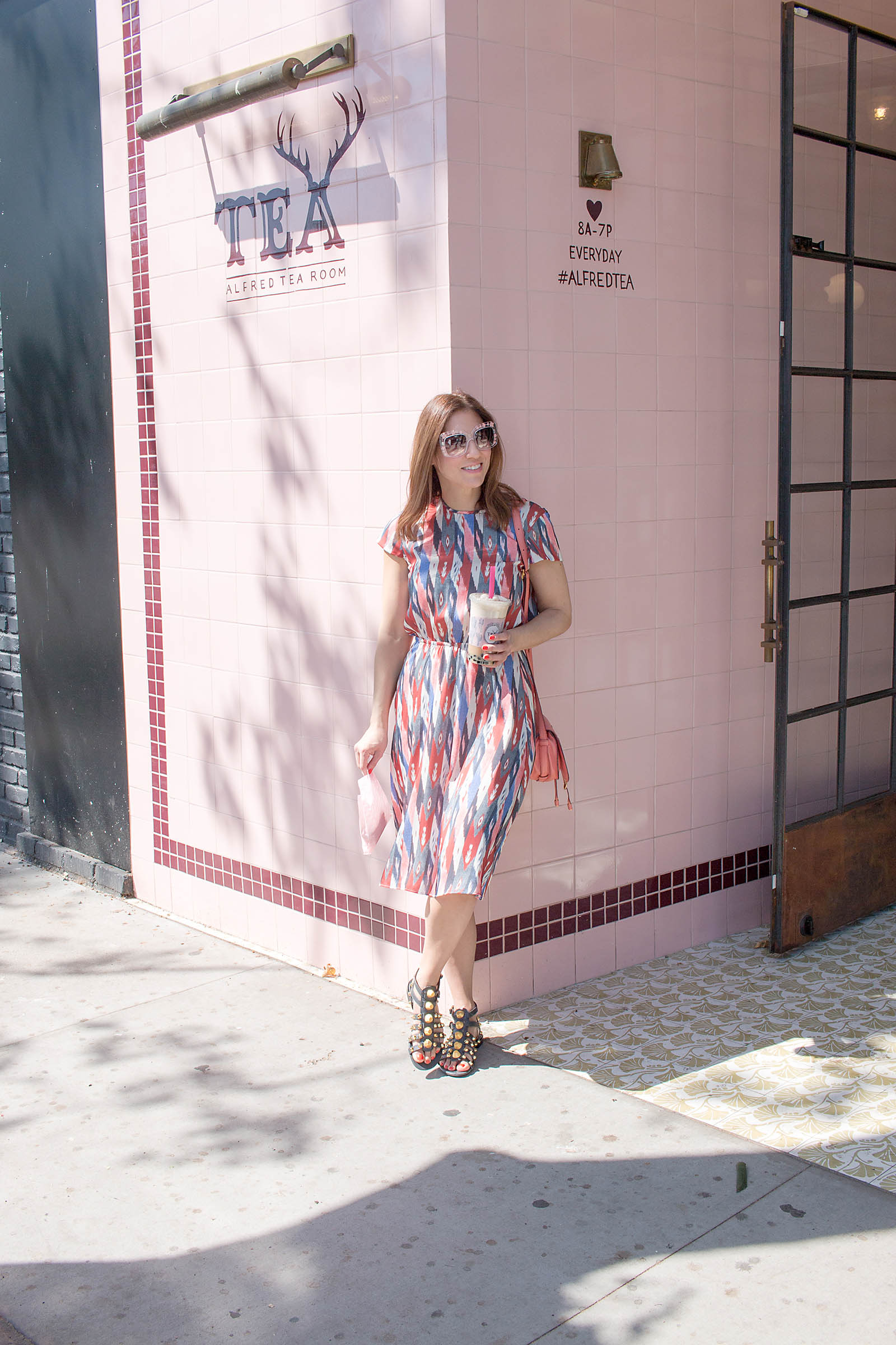 Anna Roufos Sosa of Noir Friday wearing Isabel Marant while visiting Alfred Tea Room in LA.