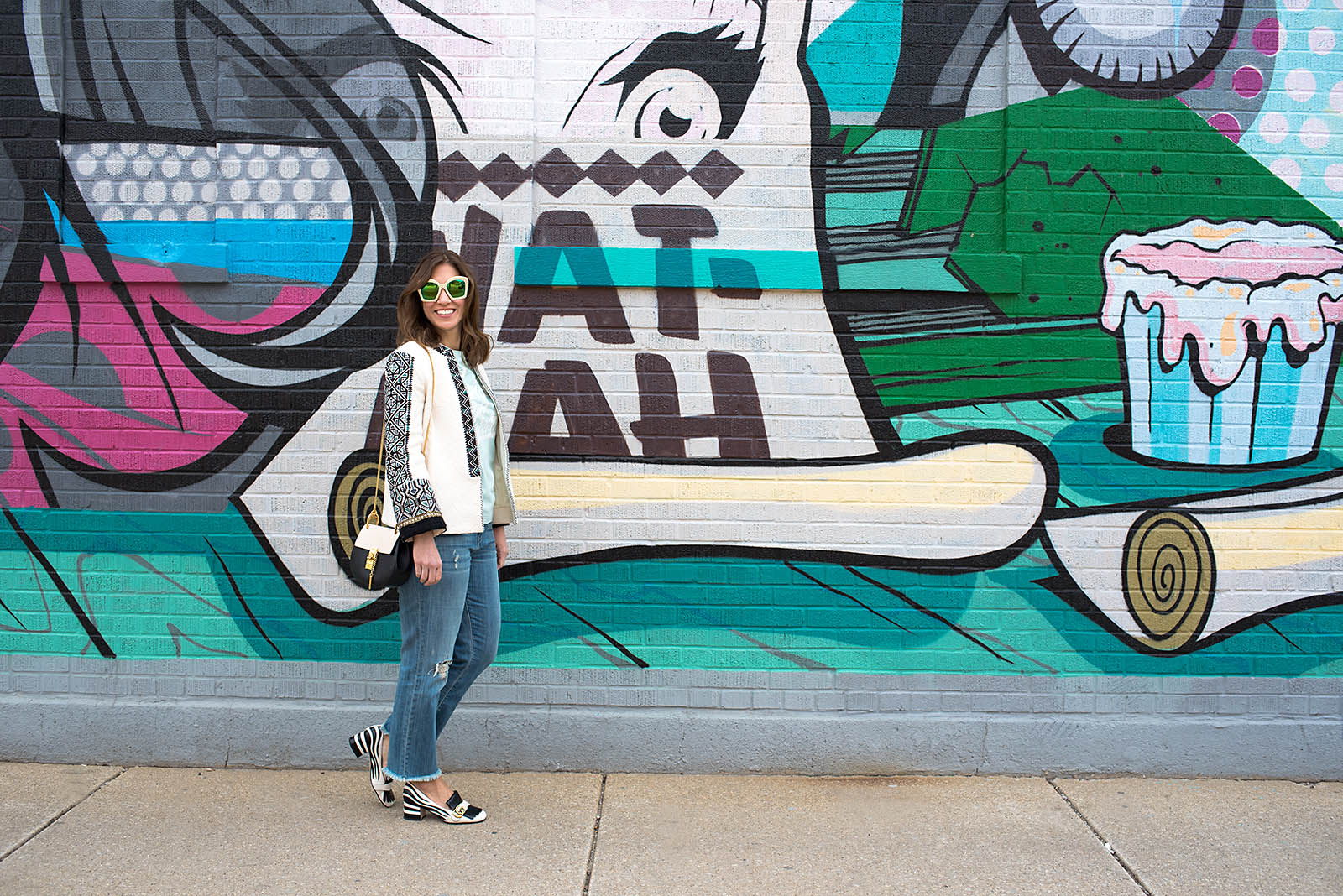 Anna Roufos Sosa of Noir Friday in a 10 Crosby Derek Lam jacket and Gucci shoes and sunglasses.