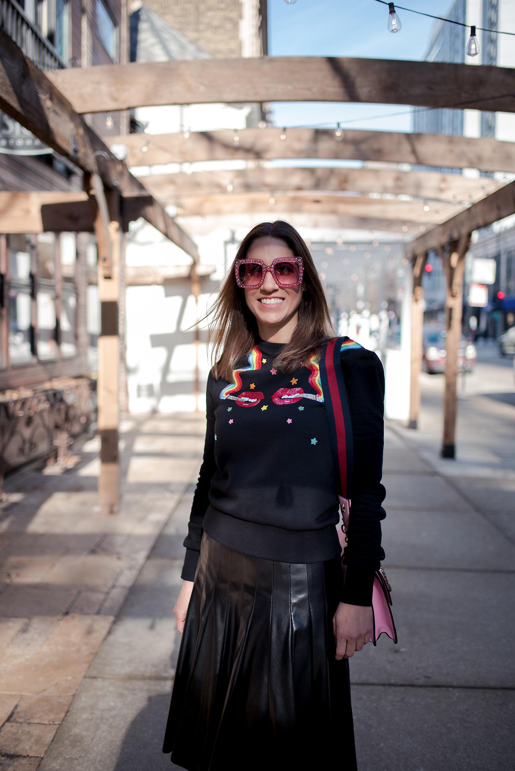 Anna Roufos Sosa of Noir Friday in an Olympia Le-Tan sweatshirt.